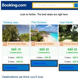 [Booking.com] Subang Jaya, Port Dickson, or Ayer Keroh? Get great deals, wherever you want to go