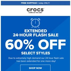[Crocs Singapore] 【EXTENDED】 24 more hours to get 60% off at Crocs‼️