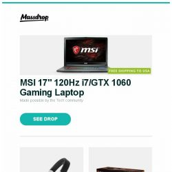 "[Massdrop] MSI 17"" 120Hz  i7/GTX 1060 Gaming Laptop, Mitchell & Johnson MJ2 Headphones, Battlebond Booster Box and more..."