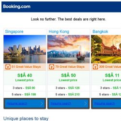 [Booking.com] Singapore, Hong Kong and Bangkok -- great last-minute deals as low as S$ 11!