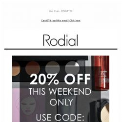 [RODIAL] , 20% Off All Weekend