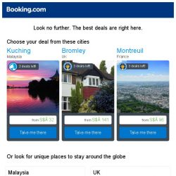 [Booking.com] Kuching, Bromley, or Montreuil? Get great deals, wherever you want to go
