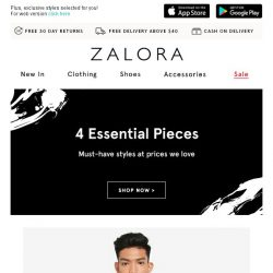 [Zalora] Up to 70% Off: 4 Essentials To Own From S$34.90
