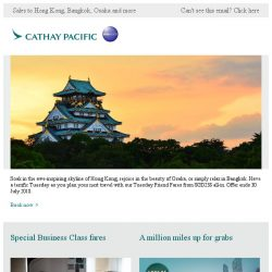 [Cathay Pacific Airways] Tuesday Friend Fares from SGD238 all-in
