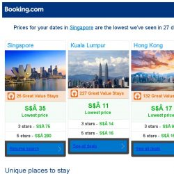 [Booking.com] Prices in Singapore are the lowest we've seen in 27 days!