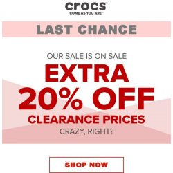 [Crocs Singapore] ENDS TODAY Enjoy an extra 20% off & Free shipping on all sale prices‼️