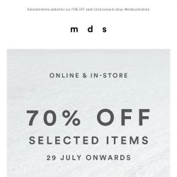 [MDS] SALE! | 70% OFF Selected Items