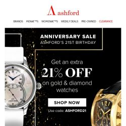 [Ashford] Last chance to get your extra 21% off