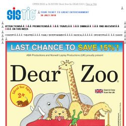 [SISTIC] OFFER ENDS in 36 HOURS! Book Now for DEAR ZOO!
