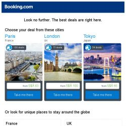 [Booking.com] Paris, London, or Tokyo? Get great deals, wherever you want to go