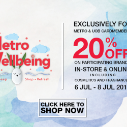 Metro: Enjoy 20% OFF Participating Brands In-Store & Online Including Cosmetics & Fragrances