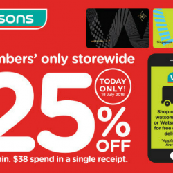 Watsons: Members' Only Storewide 25% Sale Today Only!