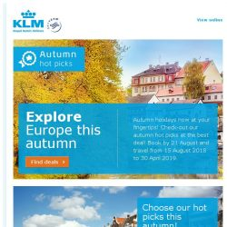 [KLM] Check out our autumn destinations on sale from SGD 800!