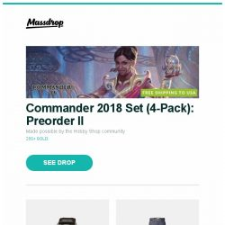 [Massdrop] Commander 2018 Set (4-Pack): Preorder II, Orient Symphony Gen II Automatic Watch, Massdrop x Naked & Famous Ichiban Easy Guy Denim and more...