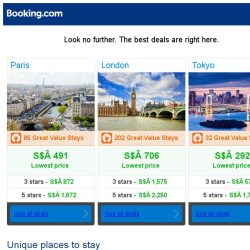 [Booking.com] Paris, London and Tokyo -- great last-minute deals as low as S$ 292!