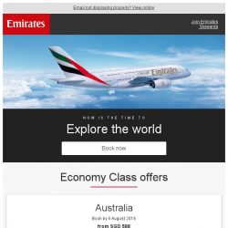 [Emirates] 3-day Online Sale.  Rare fares from SGD 588*