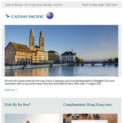 [Cathay Pacific Airways] Summer Sale: special fares from SGD238 all-in