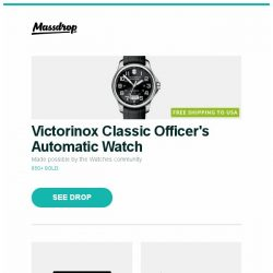 "[Massdrop] Victorinox Classic Officer's Automatic Watch, Microsoft 15"" Surface Book 2 Touchscreen Laptop, Cotton Couture Ocean Color Story Bolts and more..."