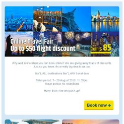 [cheaptickets.sg] Online Travel Fair   World on Discount   Up to $50 off