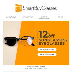 [SmartBuyGlasses] Congrats! You've got 12% off ANY pair of glasses 🕶 👓 Enjoy within 2 days!