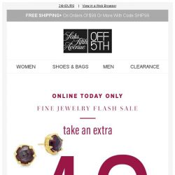[Saks OFF 5th] ⚡ Sale: Extra 40% OFF fine jewelry with code...