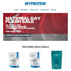 [MyProtein] 🔥 Ends Soon - Biggest Flash Sale of 2018 Yet!
