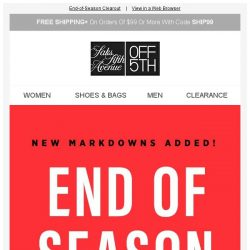 [Saks OFF 5th] NEW markdowns keep on coming: up to 80% OFF online & in stores