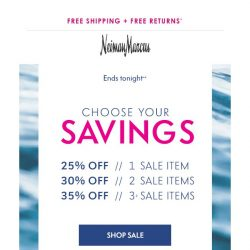 [Neiman Marcus] Hurry! Extra 25-35% off ends tonight