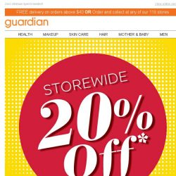 [Guardian] 😲 20% OFF Storewide! Be sure to checkout with this promo code!