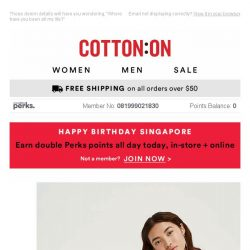 [Cotton On] Double Perks points is only the half of it