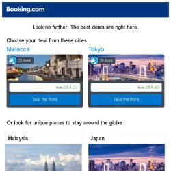 [Booking.com] Malacca and Tokyo – great last-minute deals from S$ 21