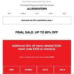 [LUISAVIAROMA] Extra 20% off on sale items