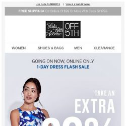 [Saks OFF 5th] Dress flash sale: Extra 20% off w/ code SUMMER18