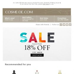 [COSME-DE.com] 18% Off Sitewide! Season Finale♥ Code: [AUG18] ♥Shop Now▶