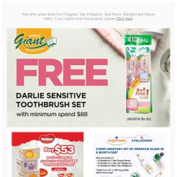 [Giant] ✨ Free Darlie Sensitive Toothbrush Set with min. $88 purchase! While stocks last! ✨
