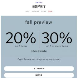 [Esprit] Friends only offer for you to shop new essentials!