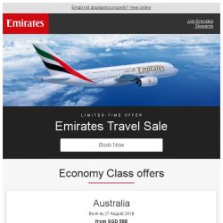 [Emirates] Emirates Travel Sale starting from just SGD 588 return