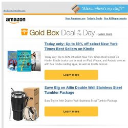 [Amazon] Today only: Up to 80% off select New York Times...