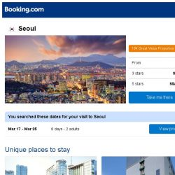 [Booking.com] Deals in Seoul from S$ 1
