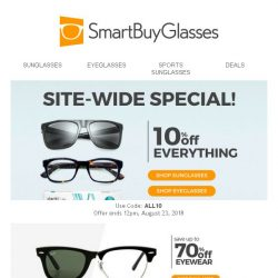[SmartBuyGlasses] Awesome opportunity! We're offering 10% off all Sunglasses & Eyeglasses! 🕶