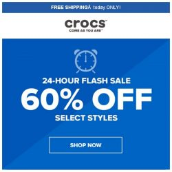[Crocs Singapore] 【24hrs ONLY⏰】 Hurry! Only 24hrs to get 60% off at Crocs‼️