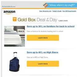 [Amazon] Save up to 30% on furniture for back to school