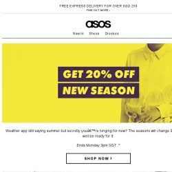 [ASOS] 20% off new season – yes!