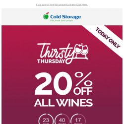 [Cold Storage] ⚡🍷 Thirsty Thursday's Back! 20% OFF All Wines - 24 Hours Only!🍷⚡
