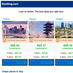 [Booking.com] Tokyo, Kyoto and Osaka -- great last-minute deals as low as S$ 37!