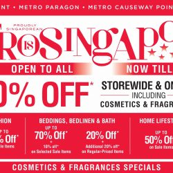 Metro: Enjoy 20% OFF Storewide & Online Including Cosmetics & Fragrances This Weekend! Open to ALL!