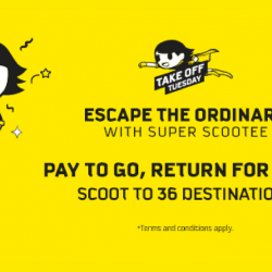 Scoot: Extended Take Off Tuesday Sale with Return Fares for FREE to Taiwan, Thailand, China, Japan & More