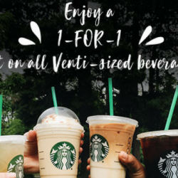 Starbucks: Flash Screen Grab to Enjoy 1-for-1 Venti-sized Drink from 3pm to 5pm!