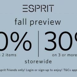 Esprit: Fall Preview Sale with Up to 30% OFF In Stores & Online