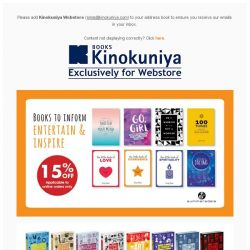 [Books Kinokuniya]   Books to inform, inspire and entertain. Enjoy up to 20% off selected titles, exclusively on Kinokuniya Webstore Singapore!